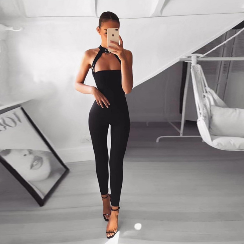 2018 New Arrive Fashion Black Women Jumpsuit Summer Sleeveless Halter Sexy Hollow Out Bo ...