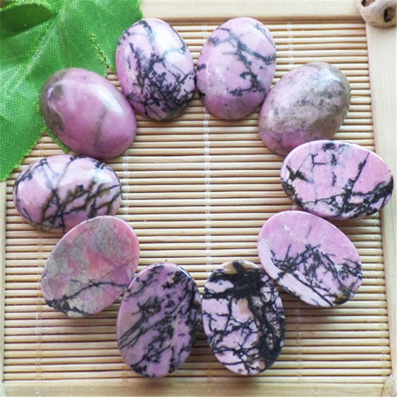 (10 pieces/lot) Wholesale Natural Rhodonite Oval CAB CABOCHON 25x18x8mm Free Shipping Fashion Jewelry ZY3412
