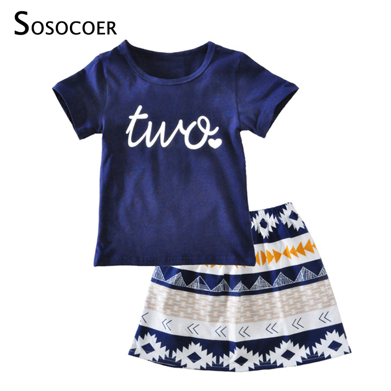 SOSOCOER Kids Girls Clothing Sets Summer 2018 New Letter Two T Shirt+Geometry Skirt Kawaii 2pcs Baby Girl Clothes Outfits Set 2pcs children outfit clothes kids baby girl off shoulder cotton ruffled sleeve tops striped t shirt blue denim jeans sunsuit set