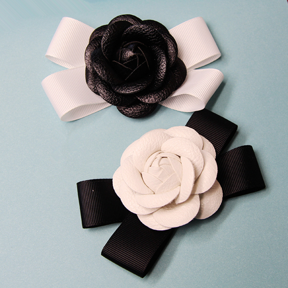 DoreenBeads 1PC Black & White Camellia Flowers Sew On Patches For Girls Woman Hairbands Hats Dresses DIY Crafts Hair Accessories