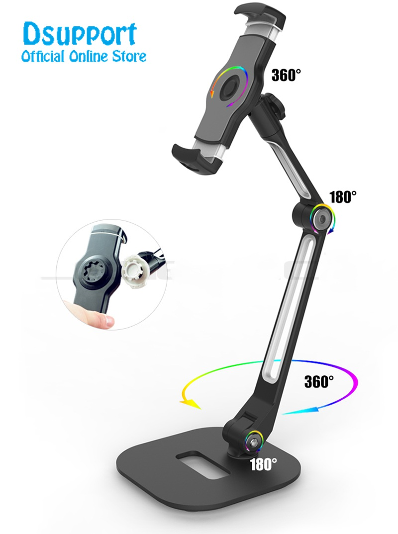 Multifunction 360 Rotation 4-11 inch Tablet PC Stand/ Mobile Phone Holder Metal Base Universal Foldable Lazy Support