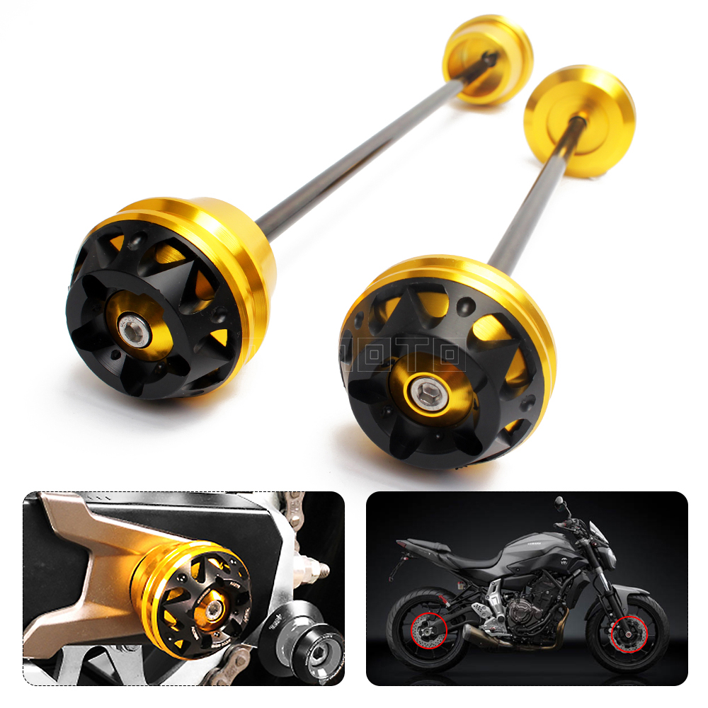 For Yamaha MT07 MT-07 FZ07 2013-2015 2016 Motorcycle accessories Front Axle Fork Wheel Protector Crash Sliders Cap Pad stand amo wheel seal front axle