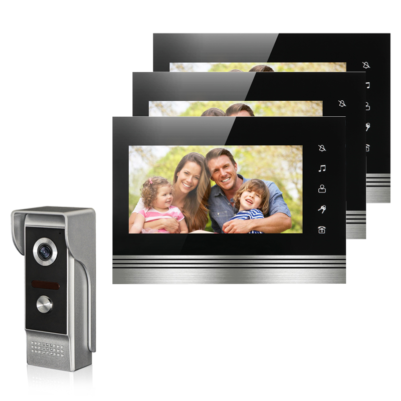 New wired 7'' TFT-LCD color video intercom door phone system3 monitor+1 IR outdoor camera video doorbell for home Free shipping homefong villa wired night visual color video door phone doorbell intercom system 4 inch tft lcd monitor 800tvl camera handfree