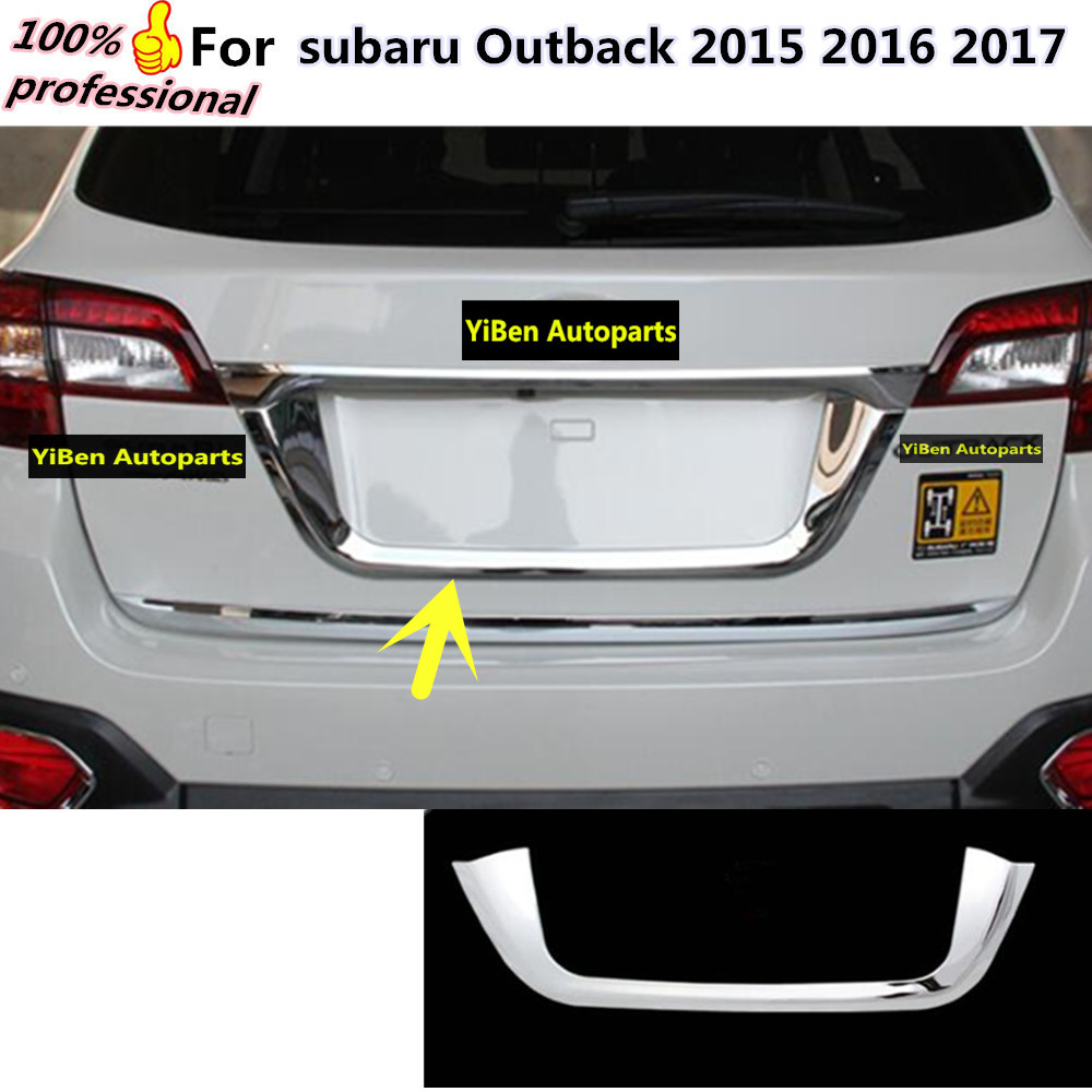 car styling detector ABS Chromium tail back Rear license frame plate trim Strips moulding 1pcs for subaru Outback 2015 2016 2017  high quality car styling cover detector abs chromium tail back rear license frame plate trim strips 1pcs for su6aru outback 2015
