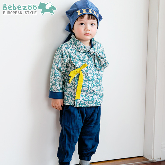 2PCs/set Cute Blue Baby Boy Prince Korean Folk Hanbok Costumes Boys Clothes 2T-4T Платье