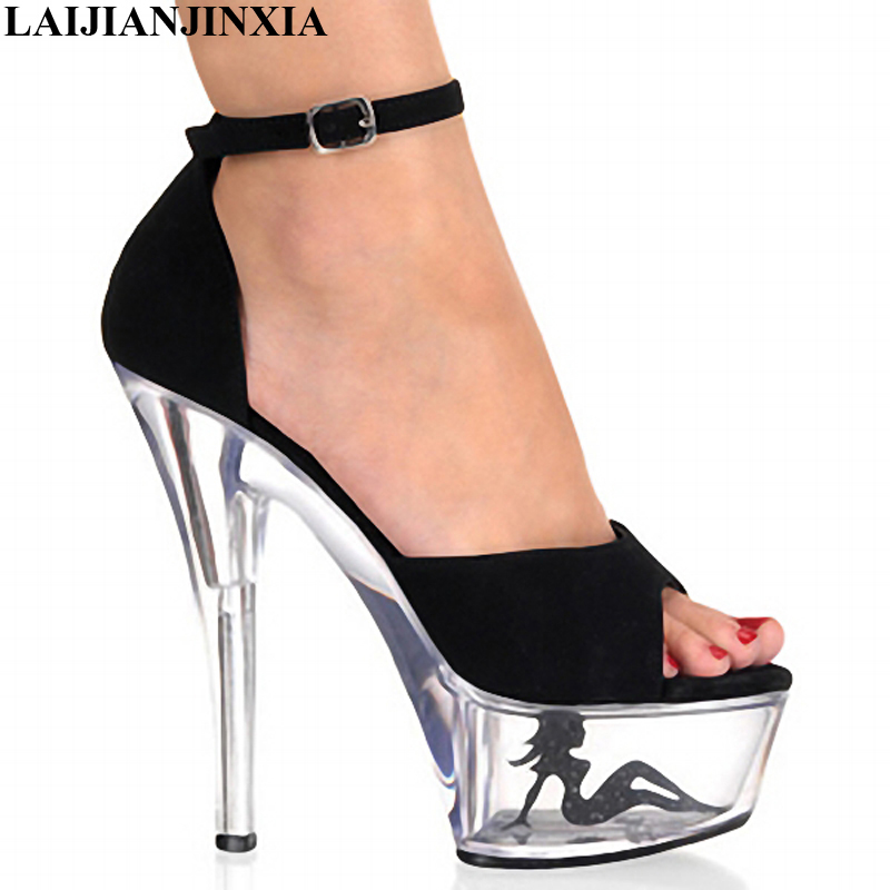 Independent Laijianjinxia Woman Summer Sexy Strap Shoes Night Club Wedding Party Shoes 15cm High-heeled Dancing Sandals Dance Pole Shoes Office & School Supplies