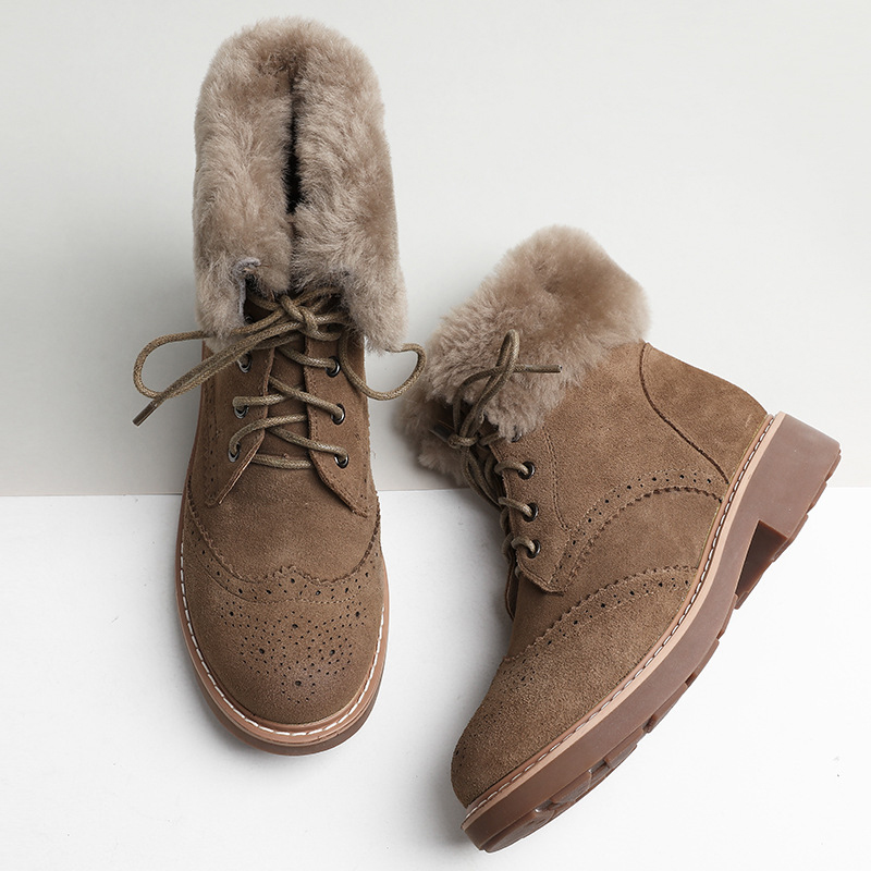 Jookrrix Winter Fashion Ankle Boots Warm Women Shoe Cross-tied British Style Lady Genuine Leather Snow Boots Brand Short Plush