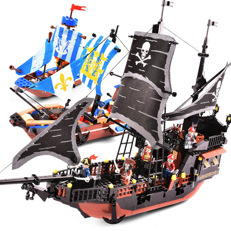 9109-9115 Pirates Caribbean Black Pearl Ghost Ship Large Building Blocks Model With Figures Compatible With LegoINGLYs Kids Gift
