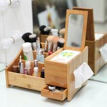 Классический многофункциональный деревянный ящик для хранения ткани коробка с зеркало Косметика Для Хранения бамбука