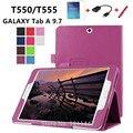 Para samsung galaxy tab a t550 caso cubierta del soporte de cuero de la pu para Samsung Tab 9.7 ''T555 Tabletas + protector de pantalla + Pen + otg
