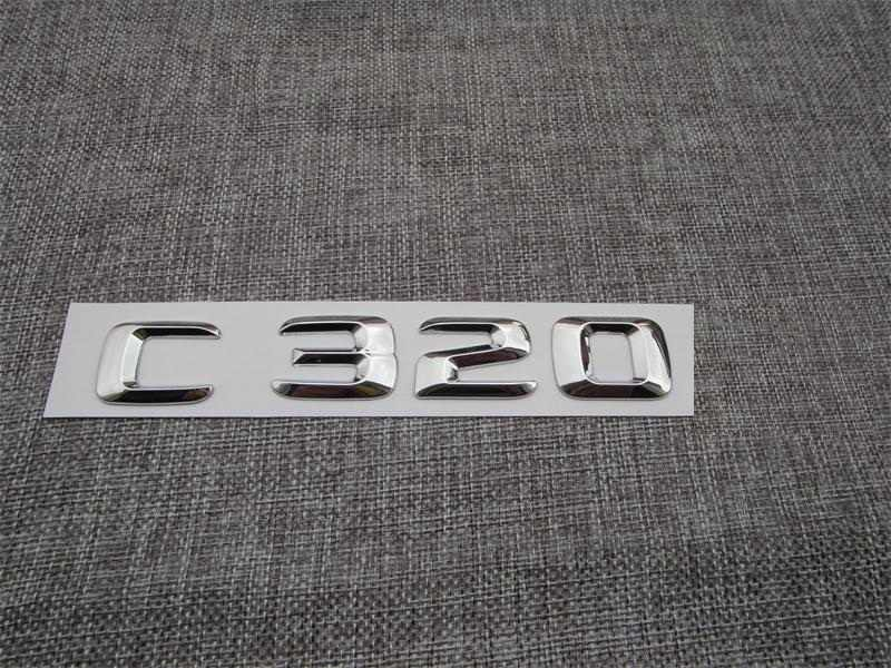 Chrome ABS Plastic Car Trunk Rear Letters Badge Emblem Decal Sticker for Mercedes-Benz C Class C320