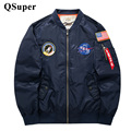 Марка Мужчины США НАСА Pacth Бомбардировщик Куртка Тонкий Стиль Роскошные Ветрозащитный Ввс Вышивка Мужчины Пилот Куртка Военная Тактическая Куртка