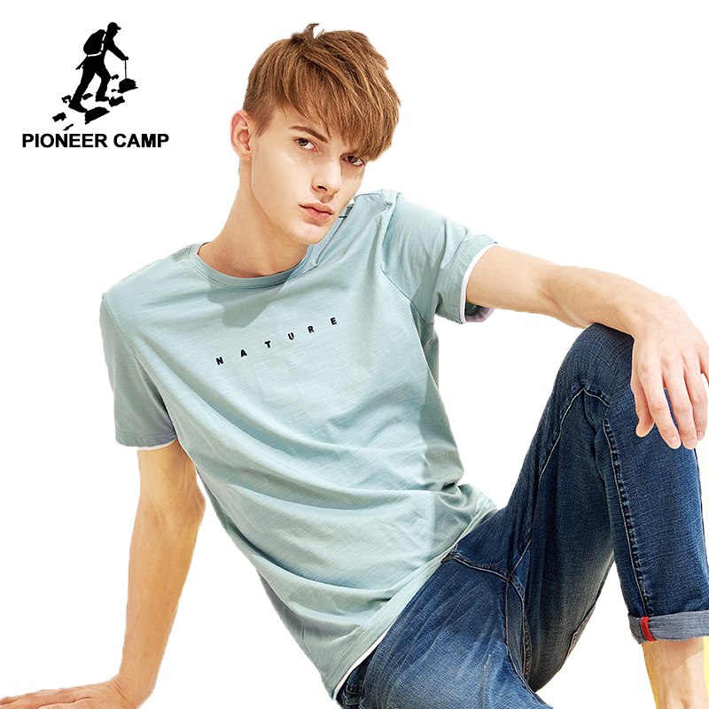 Pioneer camp new summer men   t     shirt   brand clothing casual printed   t  -  shirt   for men cotton stretch quality tshirts male ADT801066
