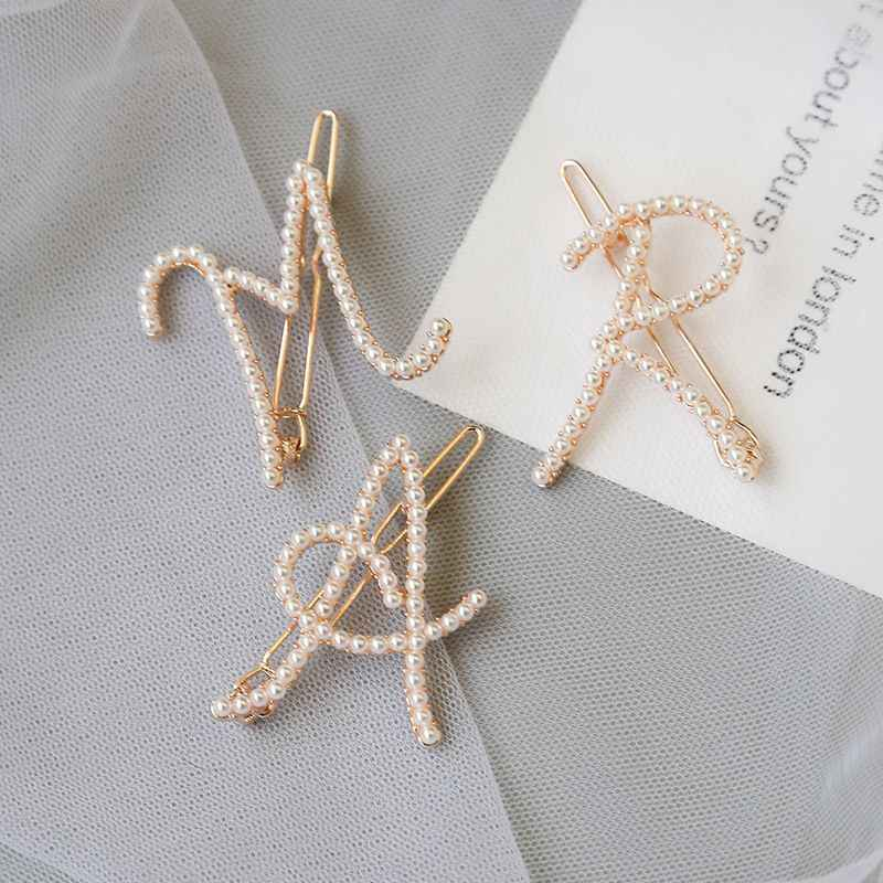 Elegant Women's Letter Pearl Hairpins Korean Sweet Girls Hair Clips Bobby Pins Barrette Hair Clip Hair Accessories Gifts