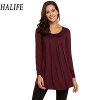 HALIFE Long Sleeve Tshirt Women Casual Tunic Tops Long T Shirt Pleated Loose Tee Shirt Femme