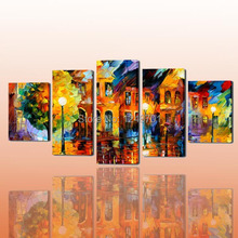 high quality hand paintedabstract palette knife oil painting night scenery  oil painting on canvas set of five panels