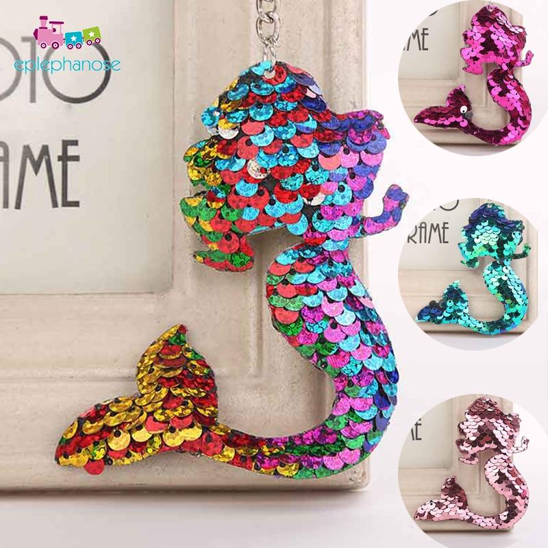 Sequin Mermaid Key Pendant Stuffed Animals Dolls Girls Bag Decor Pendant Keychain Girls Kids Gift Mini Doll