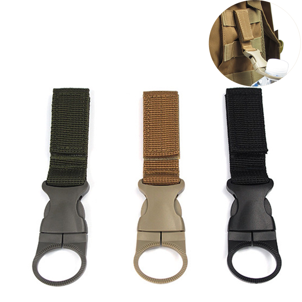 Outdoor Detachable Nylon Webbing Buckle Water Bottle Holder Clip Climbing Carabiner Belt Backpack Hooks For Hunting Climbing