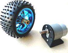 цена на 37GB (500TB) 12V DC 60RPM High Torque Gear Box Electric Motor  Deceleration motor +85MM blue  wheel  37GB bracket+6MM connetor