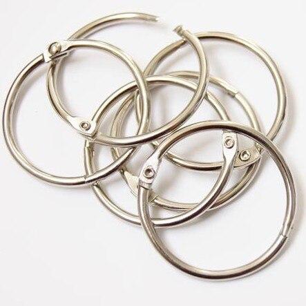 40pcs 35mm Photo Album Loose Leaf Book Card Circle Key Ring Card Buckle Snap Ring Binding Iron