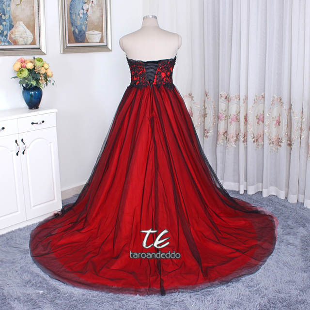 Gothic Wedding Dress with Color Sweetheart Lace Up Back Long ...