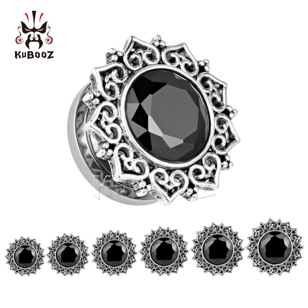 KUBOOZ Ear Piercing Zircon Extensions Plug Tunnel Body Jewelry Screw Expander Gauges Piercing Ring Fashion Gift