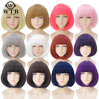 WTB 14 Short Straight Cosplay Bob Women Wigs Brown Black White Pink 24 Color Female Synthetic Hair Highlight