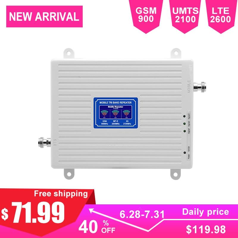 Signal cellulaire LTE pour amplificateur de téléphone portable 2G 3G 4G Triband 70dB répéteur GSM 2600 mhz 900 mhz UMTS 2100 mhz affichage LCD AGC-