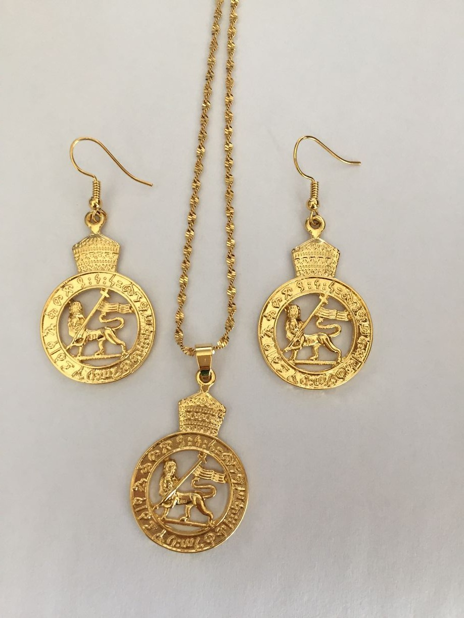 New Ethiopian Lion Of Judah Pendant Earrings Gold Color Africa