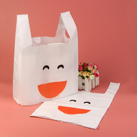 Atacado branco bonito do smiley alimentos sacos convenientes sacos de plástico sacos de comida sacos de plástico portátil coletes 100 pçs/lote,