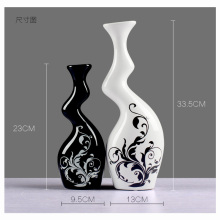 Modern home furnishing ceramic ornaments Black and white color decoration pottery twisted vases with flower pattern