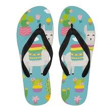 9edacc575ce02 WHEREISART Cartoon śliczne alpaki moda marka damskie japonki lato zwykłe  kapcie domu klapki kobieta plaża buty do wody