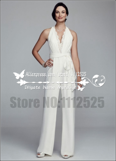 Awp 1004 Modern Wedding Dresses Pant Suits White Lace Halter