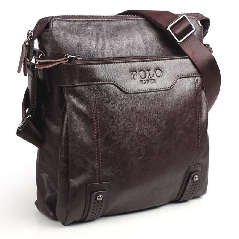 Brand Designer Vintage POLO Mens PU Leather Bags Fashion Messenger Bag Shoulder Men Brown Male Small briefcase - BUYKIN HyperMarket By Your Side! store