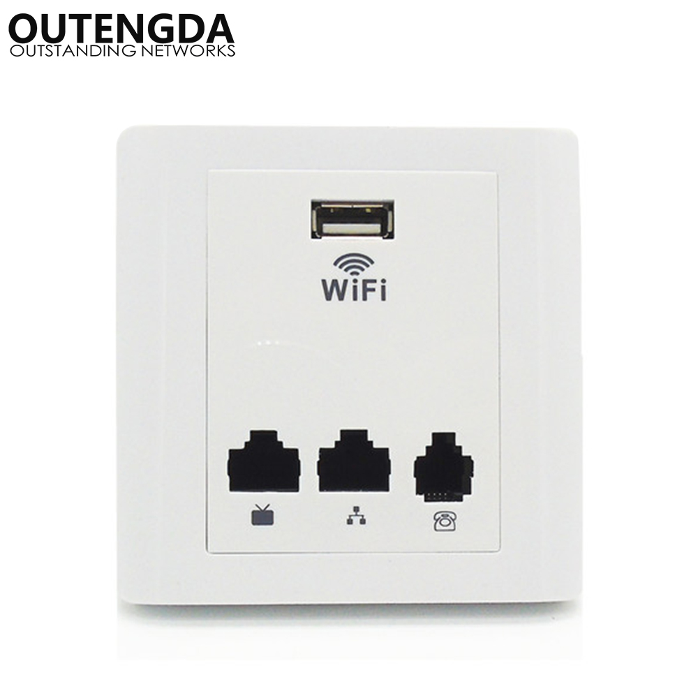 86 Mini Socket Wall Wireless AP Router Hotel Wifi Access Point IEEE802.3af POE Support Wi-Fi Repeater Extender with 2LAN WAN USB