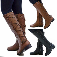 2018 Flat Heels Long Bandage Pu Leather European Motorcycle Boots Shoes Ladies Zip Buckle Western Boots Big Size 34 43