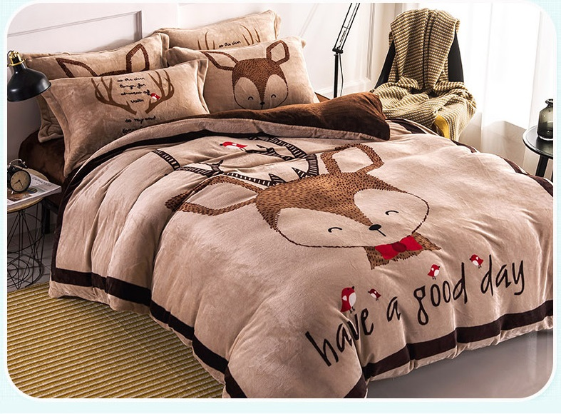 Cartoon Coral Fleece Piece Set Thermal Winter Thickening Flannel Bed Sheets  Warm Duvet Cover FL Velvet Bedding Fitted Sheet  In Bedding Sets From Home  ...
