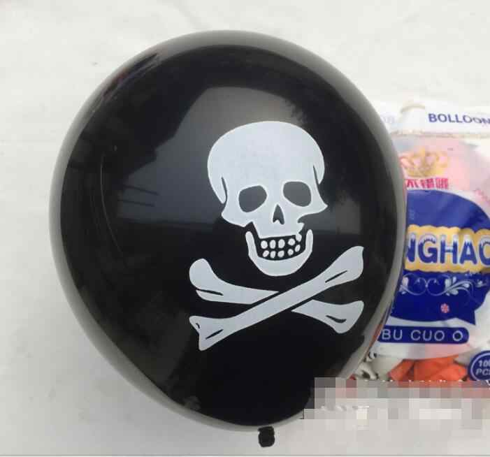 10pcs/lot Pirate Halloween Christmas Black Balloons Skull Latex Balloon Death's-Head Skull 12inch Ballon for Party Decorations