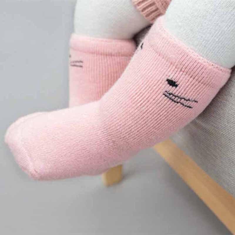 3 Pairs Baby Girl Socks Middle Length Winter Cotton Casual Anti Slip Floor Socks Cute Cartoon Knee High Kids Infant Long Socks