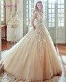 New Designer da Luva do Tampão Champagne Apliques Uma Linha Princesa Vestido De Noiva 2016 de Luxo Botão Frisada Caixilhos vestido de Noiva Plus Size