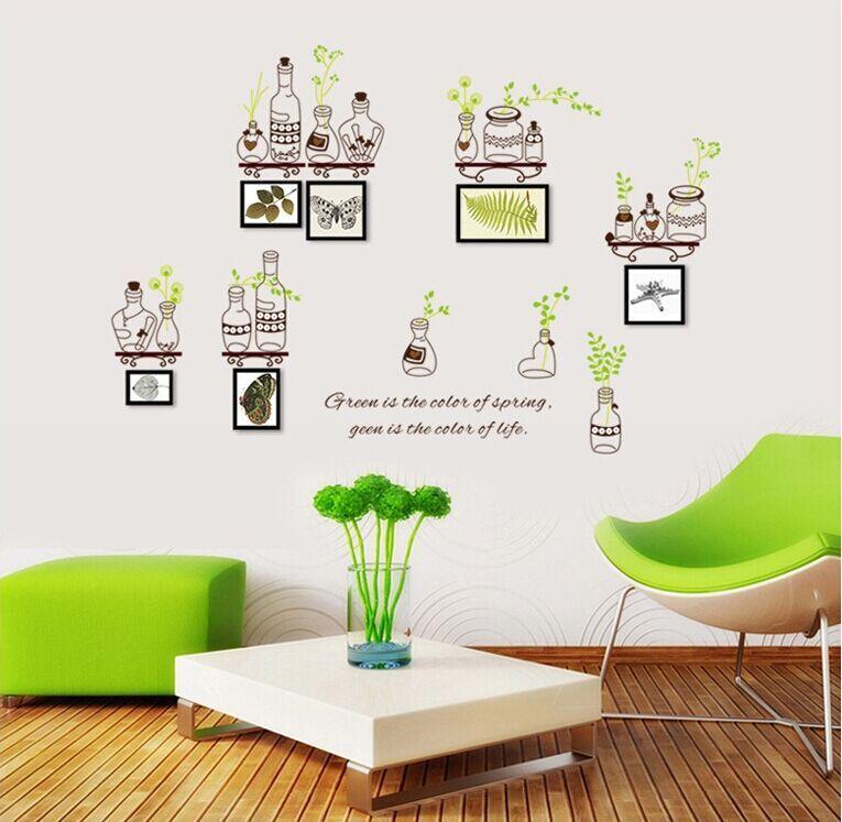 Partysu Verde Bottiglia Photo Frame Wallpaper Pvc Di Arte Diy Wall