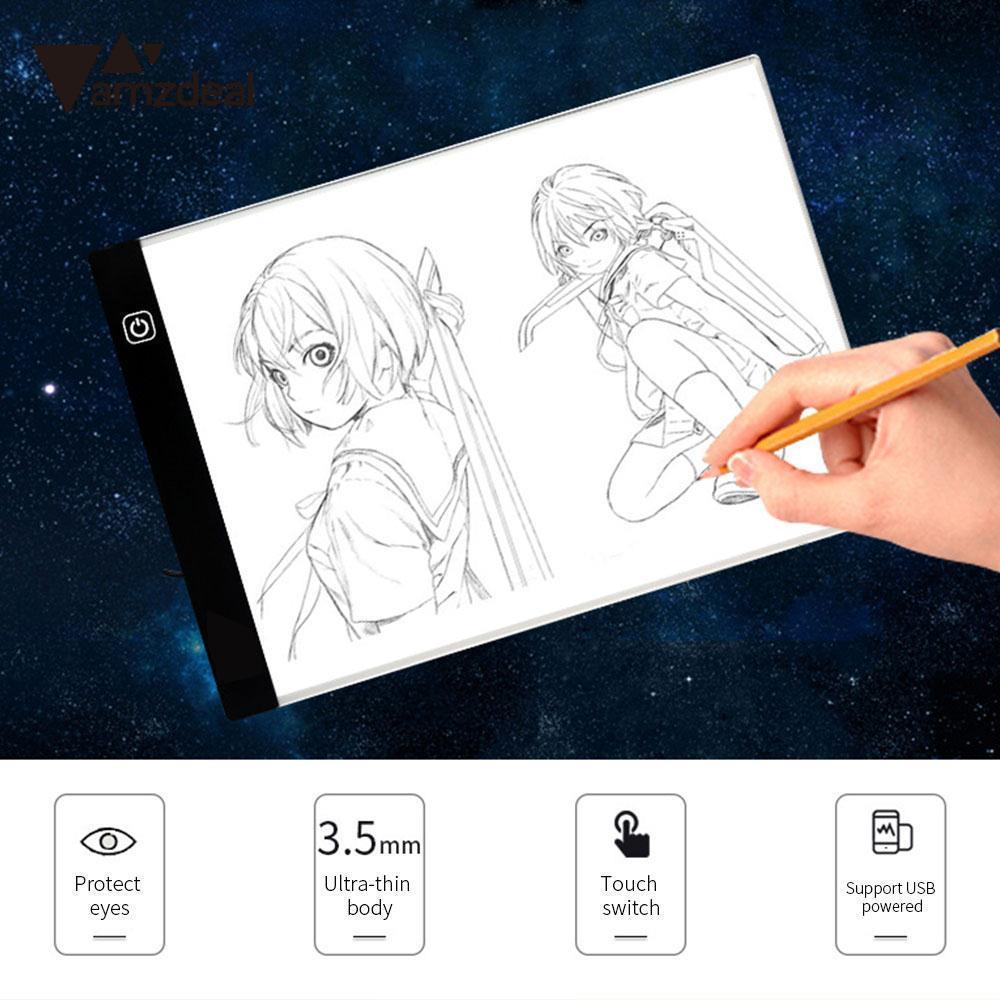 AMZDEAL A4 LED Writing Painting Light Box Tracing Board Copy Pads Drawing Tablet Artcraft A4 Copy Table LED Board m way 35x23x0 52cm ultra thin pencil drawing table graphics tablet a4 led copy adjustable brightness tracing copyboard