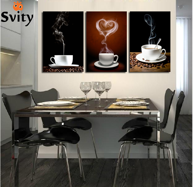 SVITY Coffee Cup Wall Canvas Painting Coffee 3 Panel Restaurant - Decoración del hogar - foto 1