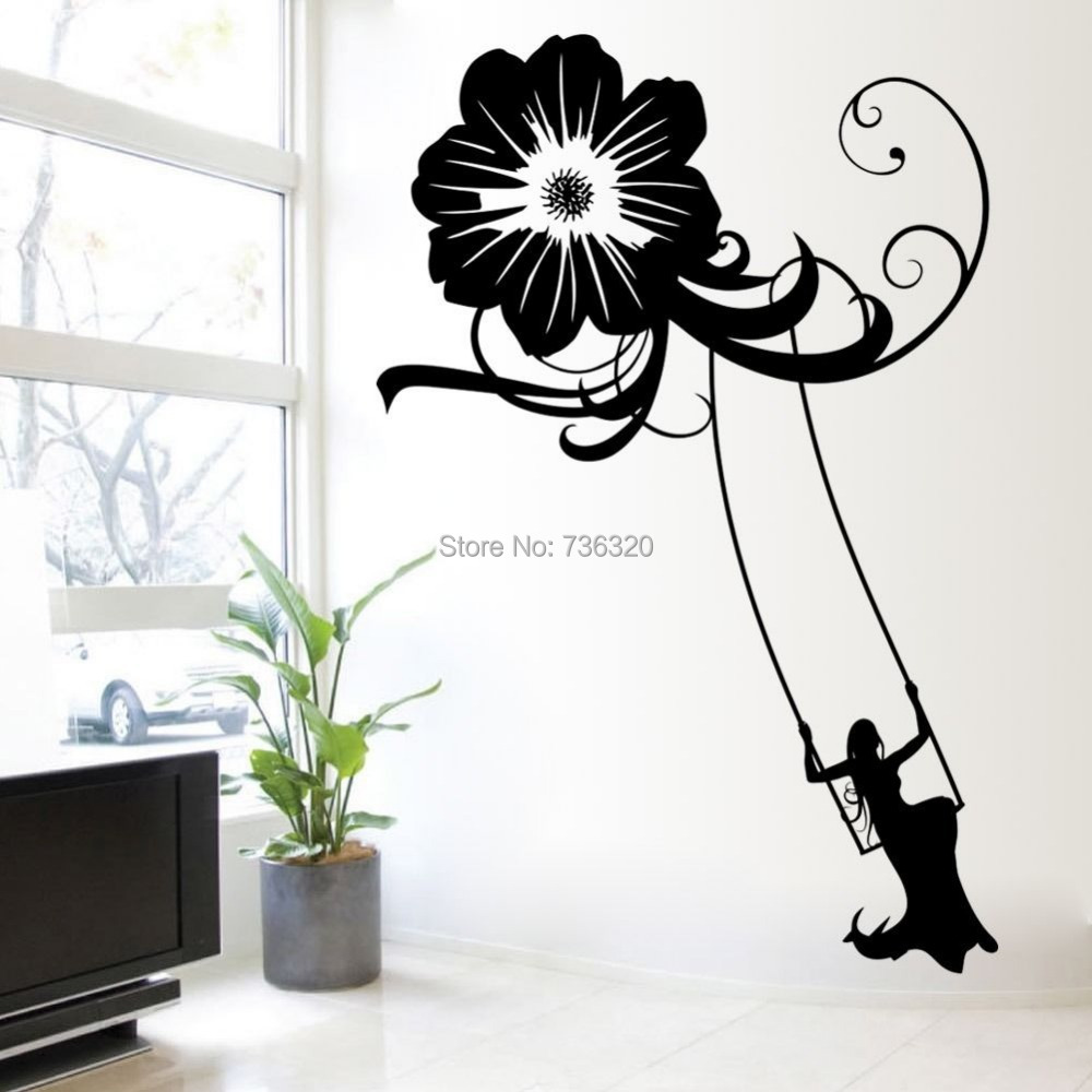 Flower Wall Decal Sticker Vinyl Art Graffiti Bedroom Girl Swing - Custom vinyl wall decals graffiti