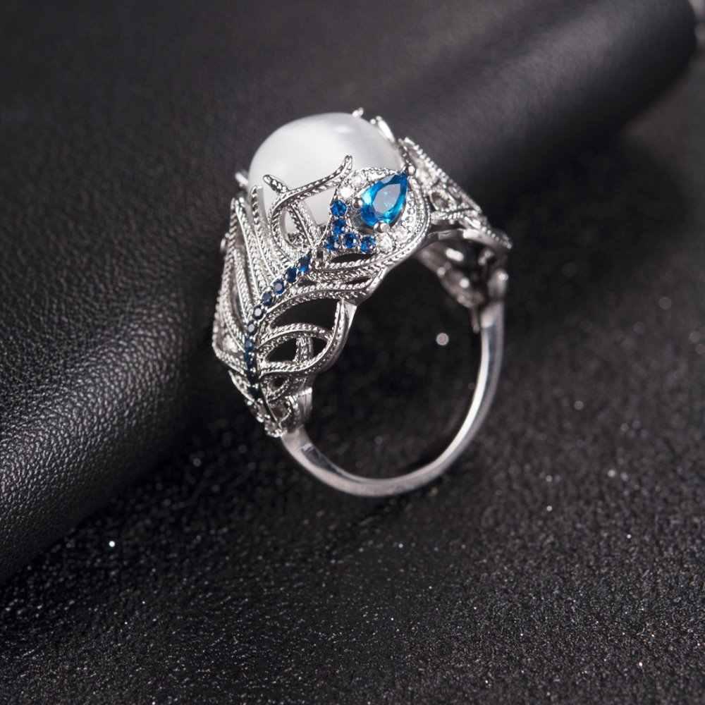 Jiayiqi 2018 jóias do vintage oco para fora natural opala cat eye anéis de prata incrustada chapeado para as mulheres presente dos namorados