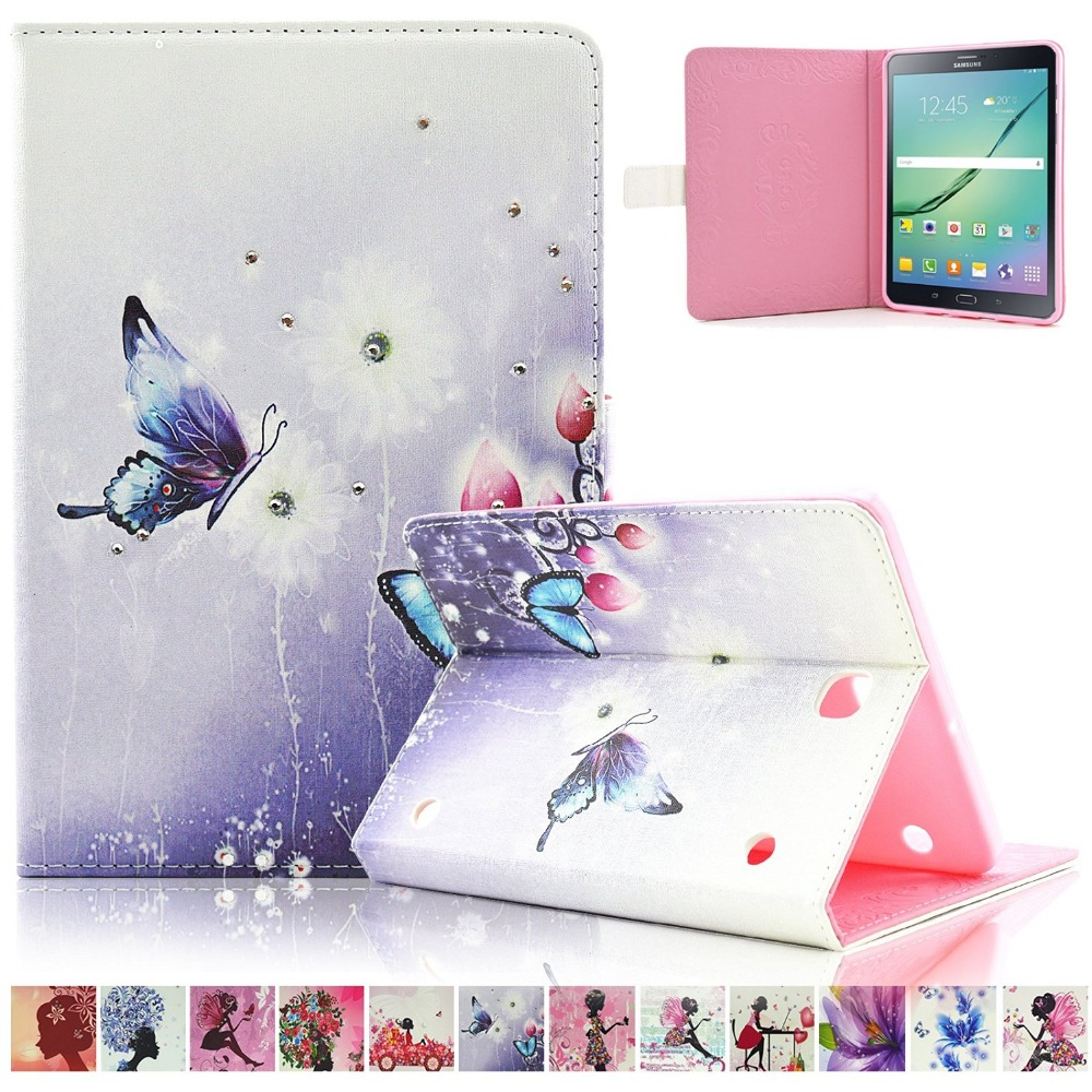 Case for Samsung Galaxy Tab S2 9.7 T815 T810 Butterfly Girl Flower Inlaid Diamond PU Leather Book Flip Cover Case with Stand
