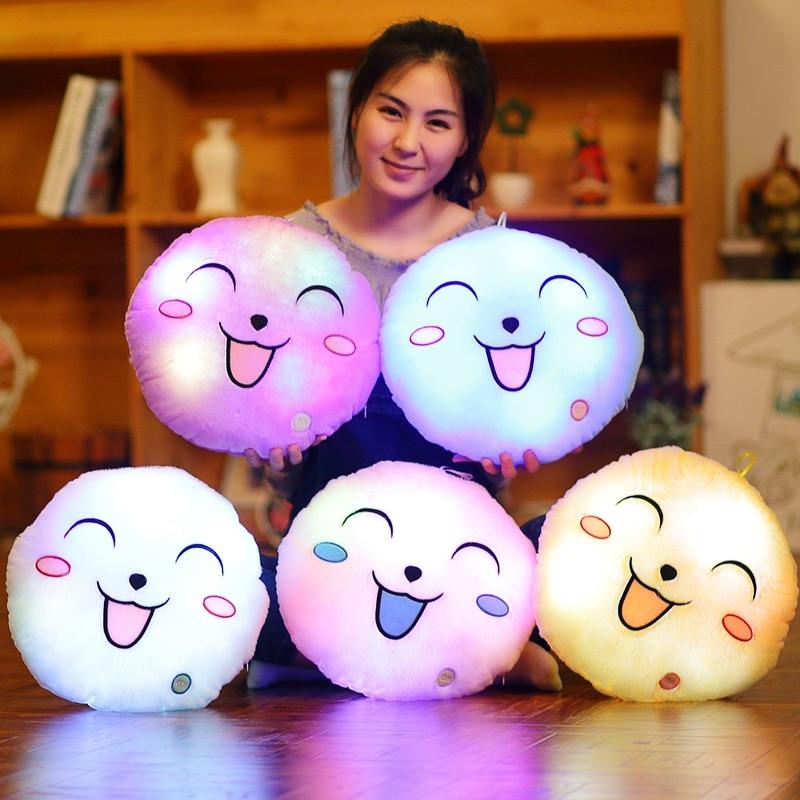5 Colors Luminous Pillow Led Light Pillow Plush Pillow Cusion Hot Colorful Smiling Face Children Gifts