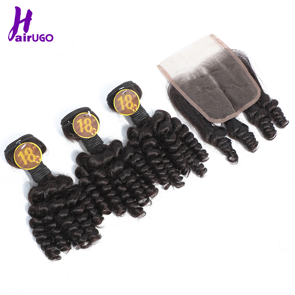 HairUGo Malaysia Funmi Hair 3 Bundles With 4*4 Lace Closure Remy Human Hair Extension With Baby Hair Include Hair cap