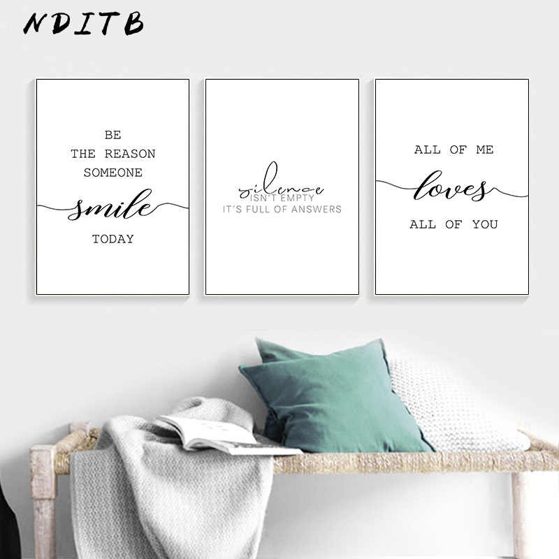 Black White Motivational Love Quote Canvas Posters Inspirational Minimalist Print Wall Art Painting Nordic Decoration Pictures
