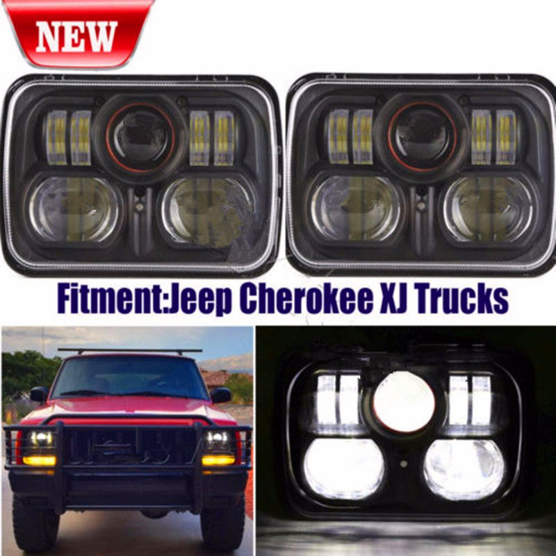 2PC New Chrome Black 5 X 7 LED Headlight Replacement for Jeep Cherokee XJ Trucks 5 X 7 LED HI/LO Headlight Black Bezel universal black 3 76mm polished aluminum fmic intercooler piping kit diy pipe length 450mm for jeep cherokee xj ep lgtj76 450